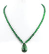 60 - 70 Ct 100% Certified Emerald Gemstone Necklace with Emerald Drop - ZeeDiamonds
