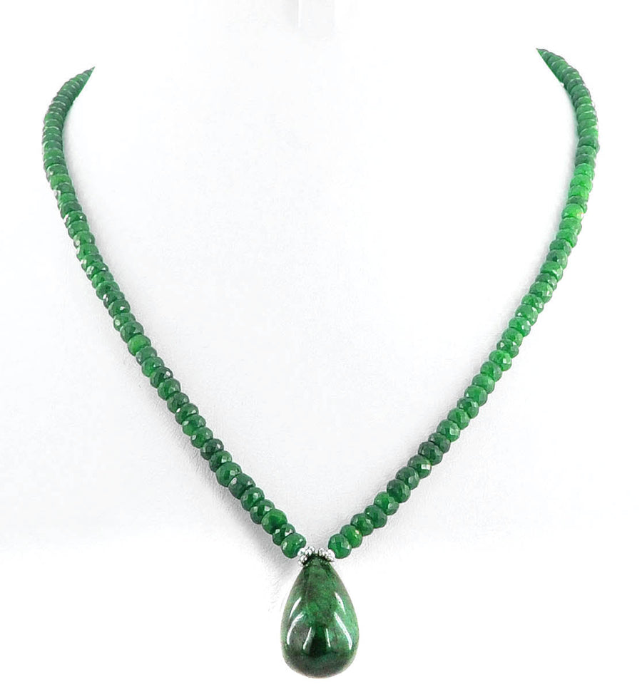 Single Strand Emerald Gemstone Necklace With Emerald Drop