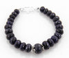 8 mm Blue Sapphire (Neelam) Gemstone Beaded Designer Bracelet In Silver Clasp - ZeeDiamonds
