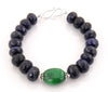 100% Certified Blue Sapphire Beaded Gemstone Designer Silver Clasp Bracelet - ZeeDiamonds