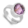 6.25 Ratti Oval Cut Amethyst Gemstone Adjustable Ring in Silver - ZeeDiamonds