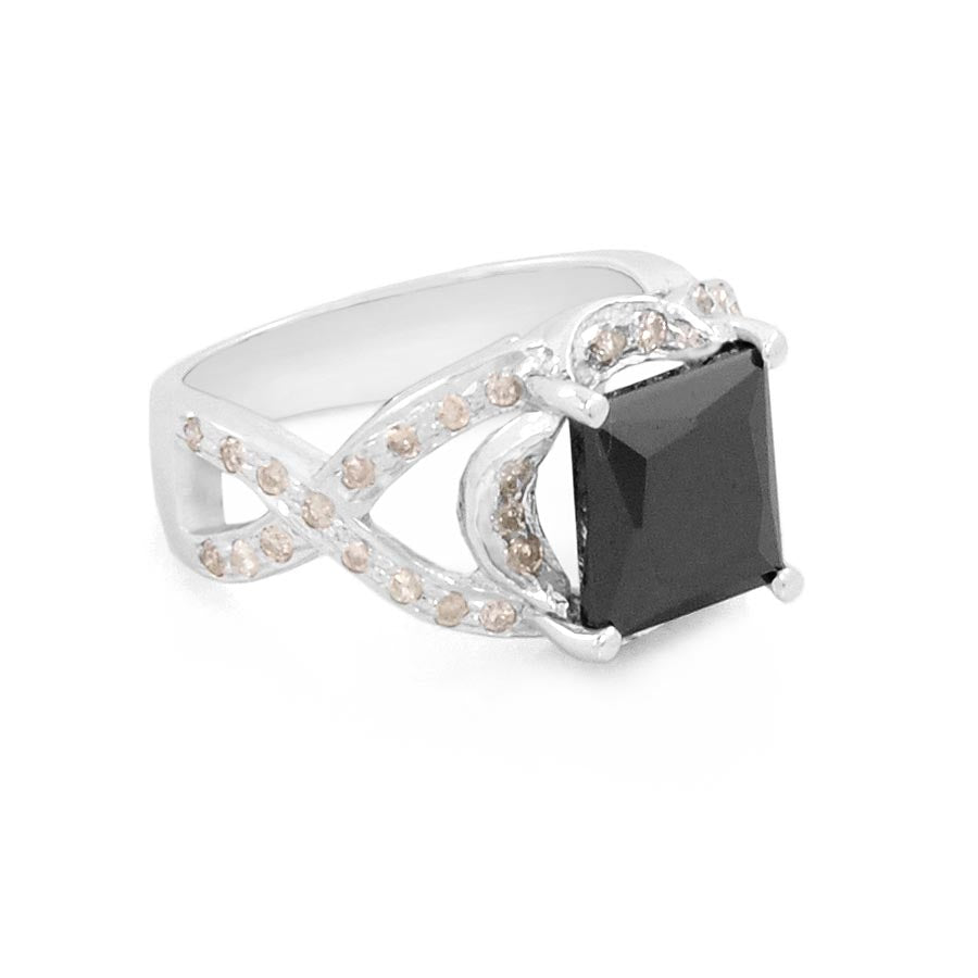 4 Ct Black Diamond Ring With white Diamond Accents
