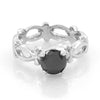 1 Ct Certified Black Diamond Ring in 925 Sterling Silver.Great shine & Luster! - ZeeDiamonds
