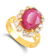 Ruby Gemstone Ring With White Diamond Accents - ZeeDiamonds