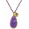 Cabochon Amethyst Pendant With Aum Charm & Amethyst Rosary Chain