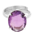 6.25 Ratti Certified Amethyst Gemstone Adjustable Silver Ring - ZeeDiamonds