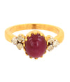 Cabochon Ruby Gemstone Ring With White Diamond Accents - ZeeDiamonds