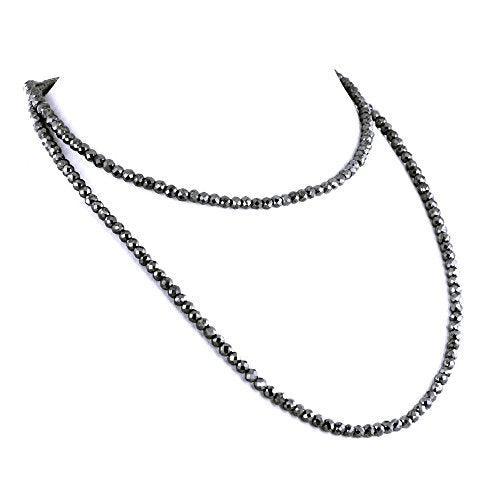 4 mm Certified Black Diamond Beads Necklace Earth Mined - ZeeDiamonds