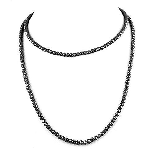 5 mm Certified Black Diamond beads Necklace, free studs