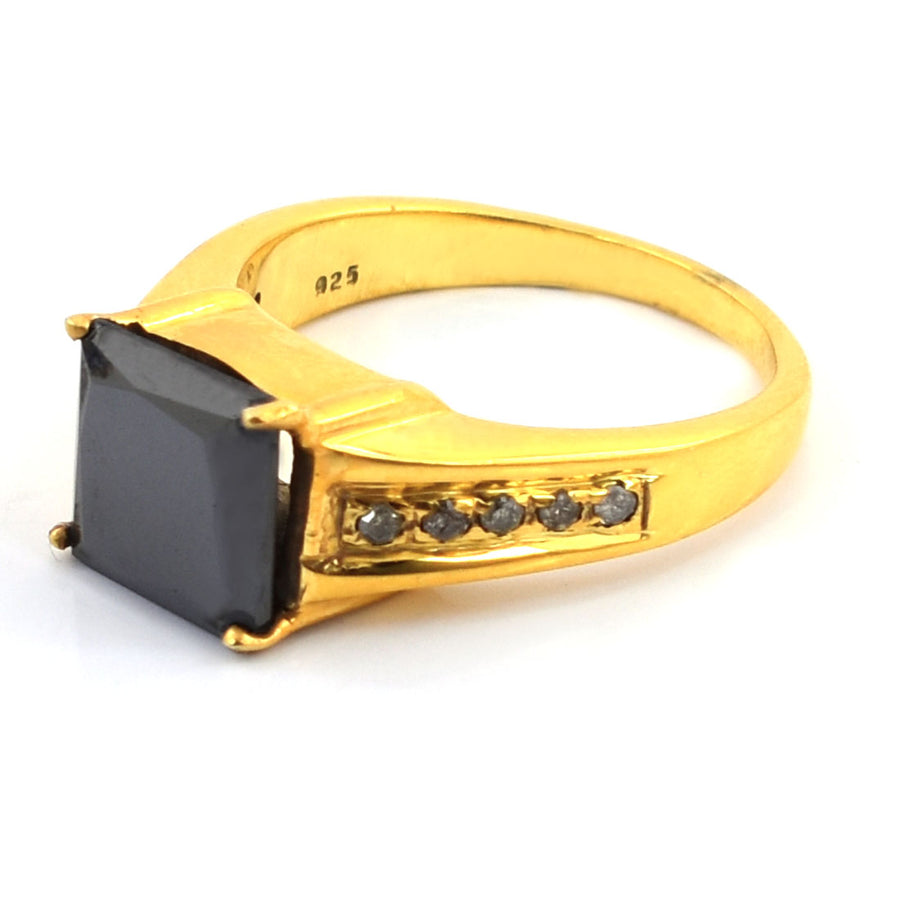 3 Ct Princess Cut Black Diamond Designer Accents Ring - ZeeDiamonds