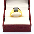 2.5 Ct Black Diamond Solitaire Ring in Yellow Gold Finish - ZeeDiamonds