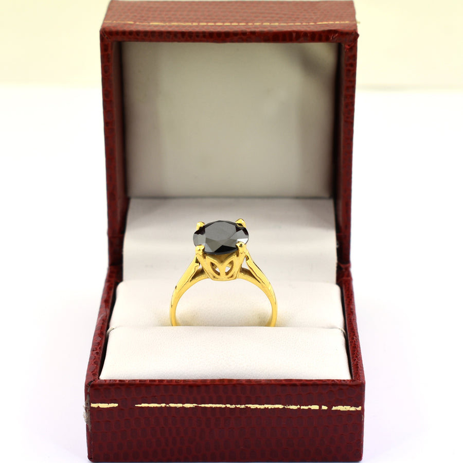 3 Ct Certified Black Diamond Solitaire Beautiful Ring - ZeeDiamonds