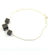 5.5 Cts Cube Shape Black Diamond 3 Beads Sterling Silver Chain Bracelet - ZeeDiamonds