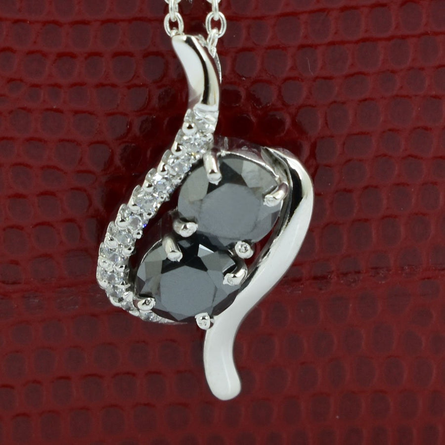 3 Ct Black Diamond Solitaire Pendant with Diamond Accents - ZeeDiamonds