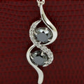 Elegant & Delicate Two Stone Black Diamond Pendant With White Diamonds - ZeeDiamonds