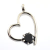 1 Ct AAA Quality Heart Shape Black Diamond Solitaire Pendant