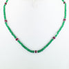77 Ct Certified Emerald Gemstone Necklace with Ruby Beads, Great Gift