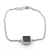 5 Carat Certified Black Diamond Chain Bracelet in Bezel, Princess Cut - ZeeDiamonds