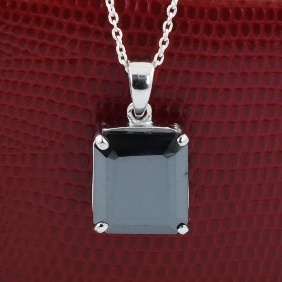 4 Ct, Certified Black Diamond Solitaire Pendant In White Gold Finish - ZeeDiamonds