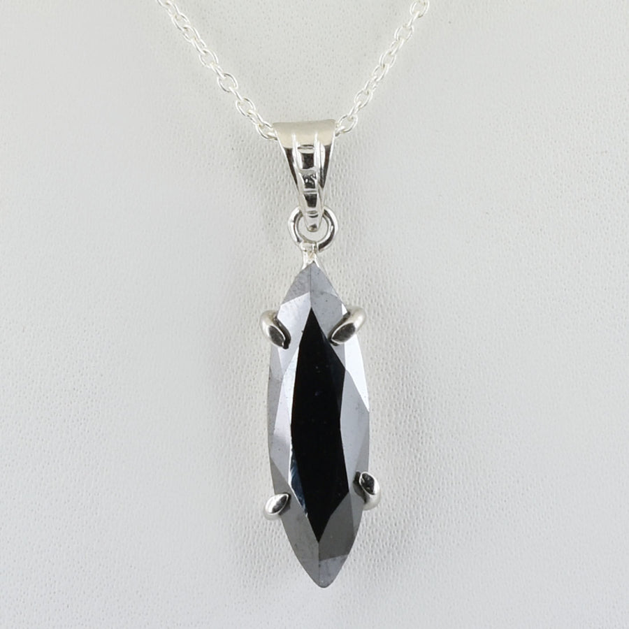 3.5 Ct Certified Marquise Shape Black Diamond Pendant - ZeeDiamonds