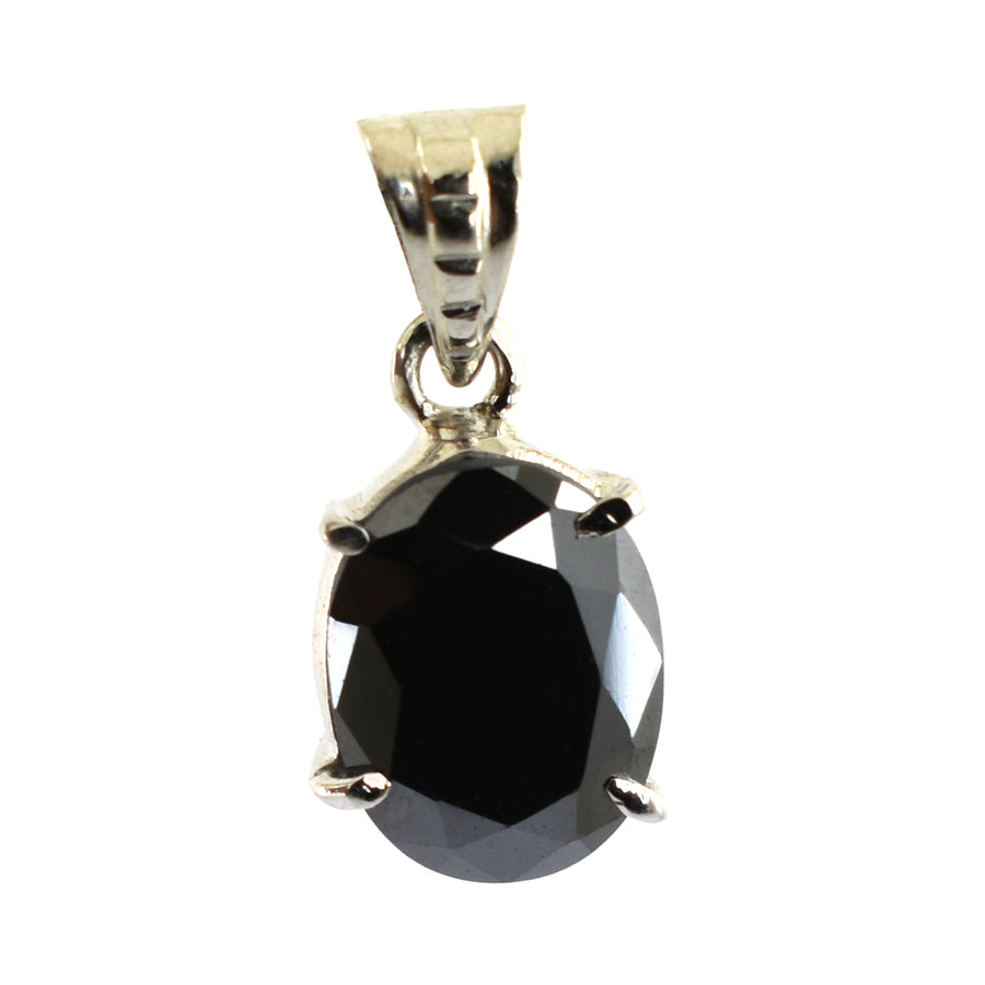 Oval Shape Black Diamond Pendant in 4 Prong Setting - ZeeDiamonds