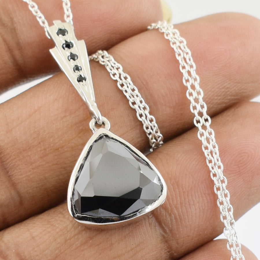 Trillion Cut Black Diamond Pendant With Black Diamond Accents - ZeeDiamonds
