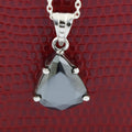 3 Ct, Elegant Pear Shape Black Diamond Solitaire Pendant in 925 Sterling Silver - ZeeDiamonds