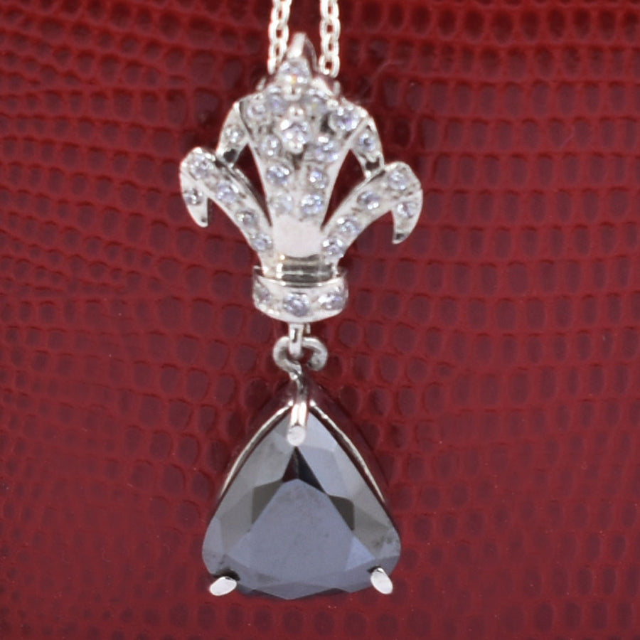 3.5 Ct Trillion Shape Black Diamond Pendant With White Diamond Accents - ZeeDiamonds