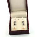 14 Ct Cube Shape 100% Certified Black Diamonds Beads And Pearl Gemstone Drop Earring - ZeeDiamonds