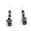 Certified Black Diamond & Emerald Dangler Silver Earrings