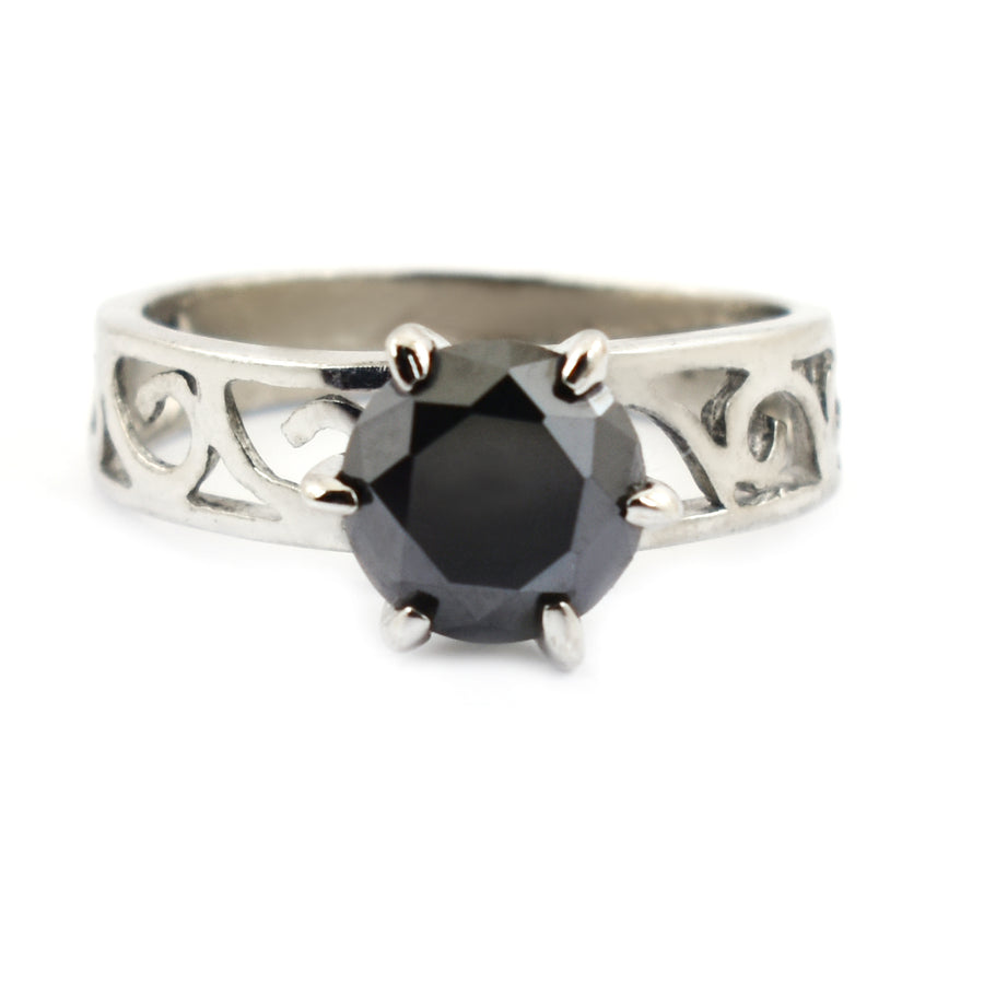 2 Ct Vintage Style Brilliant Cut Black Diamond Solitaire Ring - ZeeDiamonds