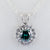 1.20 Ct Blue Diamond Solitaire Pendant With White Diamond Accents - ZeeDiamonds