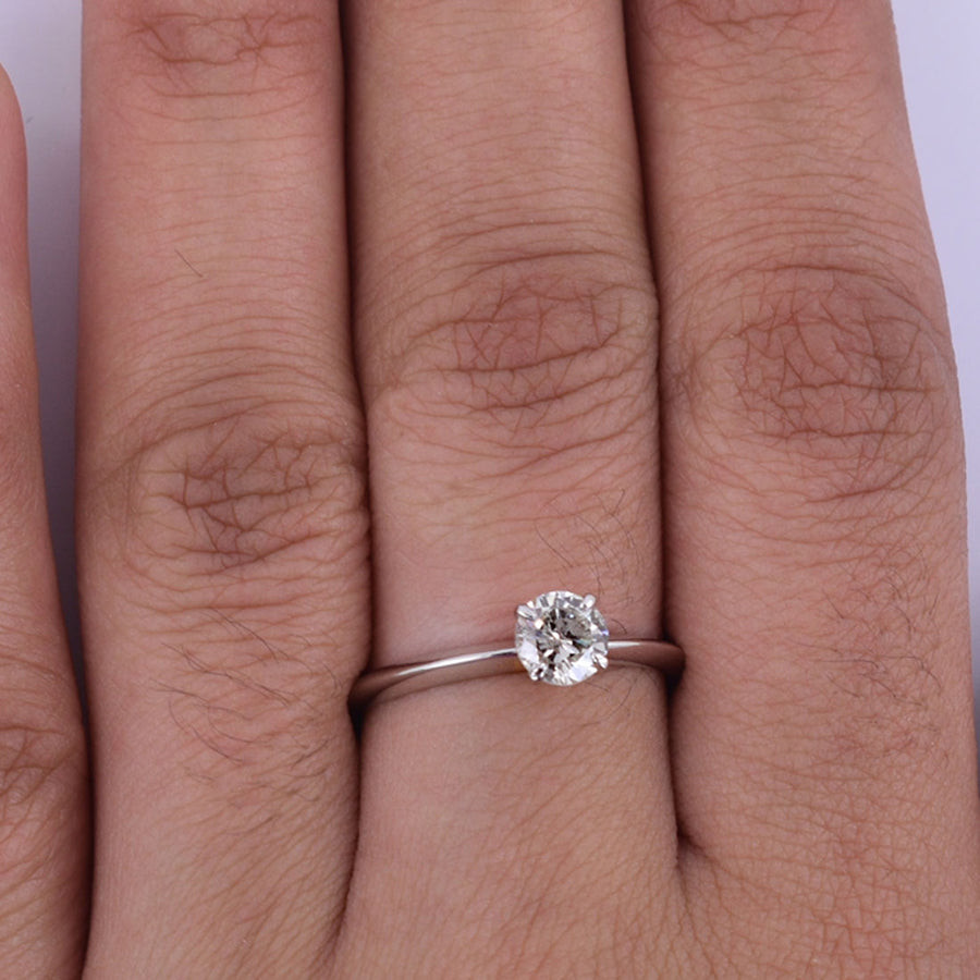 0.38 Ct Solitaire Diamond  Engagement Ring in Solid Gold - ZeeDiamonds