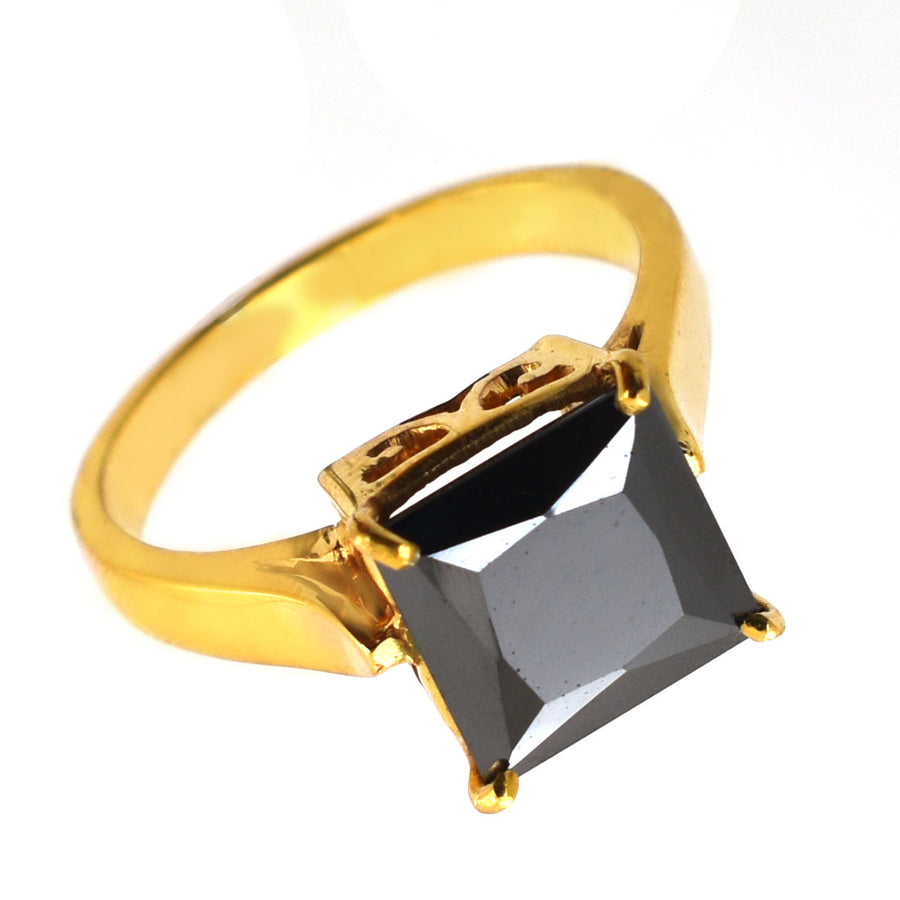 3.5 Ct Princess Cut Black Diamond Solitaire Ring in Gold Finish - ZeeDiamonds