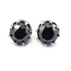 3 Ct AAA Certified Black Diamond Solitaire Studs in Black Gold Finish