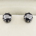 3 Ct AAA Certified Black Diamond Solitaire Studs in Black Gold Finish - ZeeDiamonds