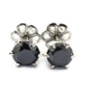 7 mm, 3 Carat Brilliant Cut Black Diamond Solitaire Studs, Great Luster