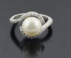 South Sea Pearl Ring with White Diamond Accents, Designer Ring - ZeeDiamonds