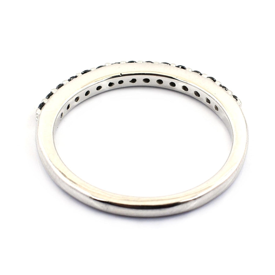 Designer Black Diamond Ring Band in Sterling Silver - ZeeDiamonds