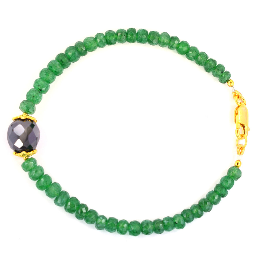 41 Cts Emerald Gemstone Beads & Black Diamond Bead Bracelet In Yellow Gold Clasp - ZeeDiamonds