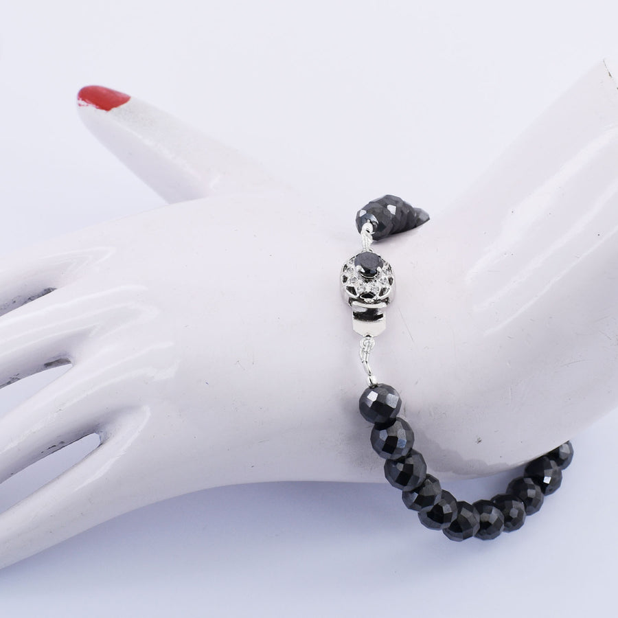 8 mm Black Diamond & White Diamond Accents Bracelet In Silver Clasp - ZeeDiamonds