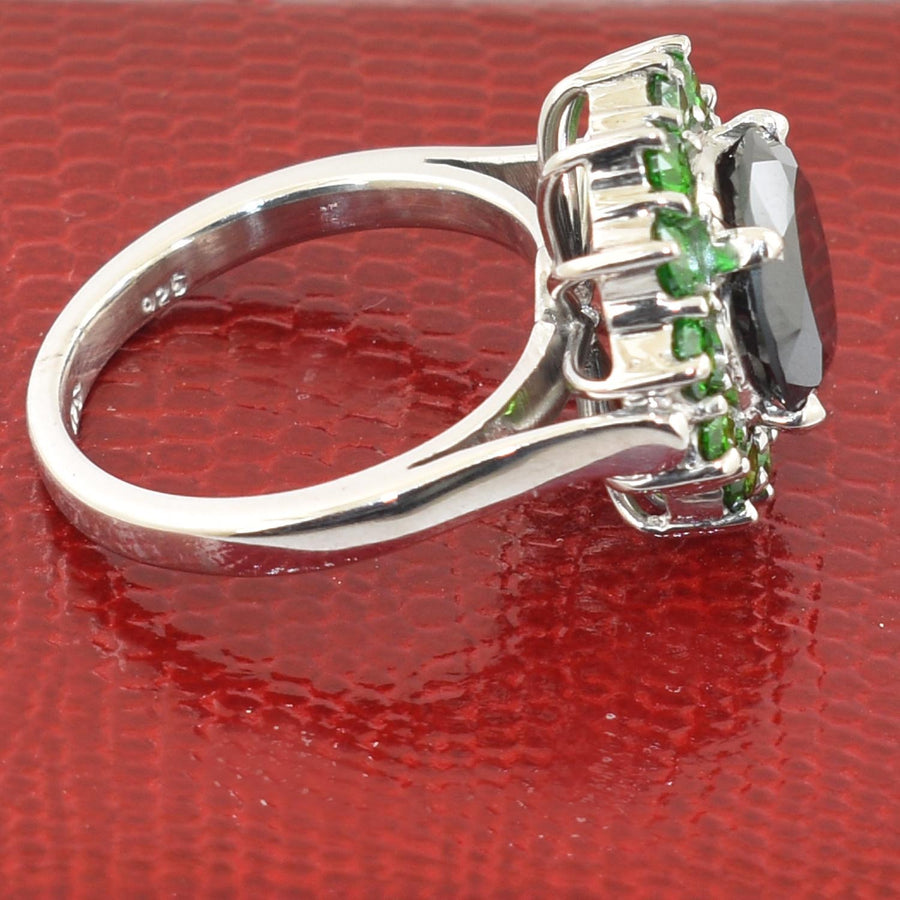 1-3 Cts Black Diamond with Emerald Stone Accents Engagement Ring - ZeeDiamonds