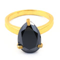 2-4 Ct Pear Shape Black Diamond Solitaire Ring for Women's - ZeeDiamonds