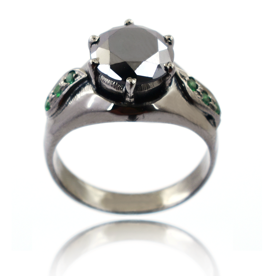 2.5 Ct Round Black Diamond Solitaire Ring with Emerald Accents - ZeeDiamonds