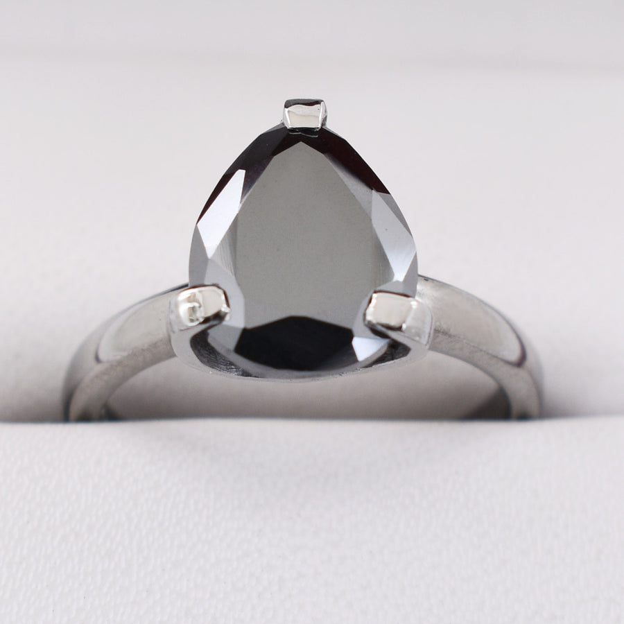Pear Shape Conflict Free Black Diamond Engagement Ring - ZeeDiamonds