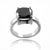 2.5 Carat Certified Black Diamond Cushion Cut Ring - ZeeDiamonds