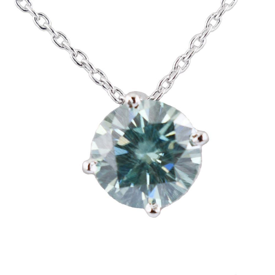 1 Ct Round Cut 100% Certified Blue Diamond Solitaire Pendant For Gift - ZeeDiamonds
