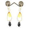 19.20 Ct Certified Black Diamond & Citrine Drops Dangler Earrings
