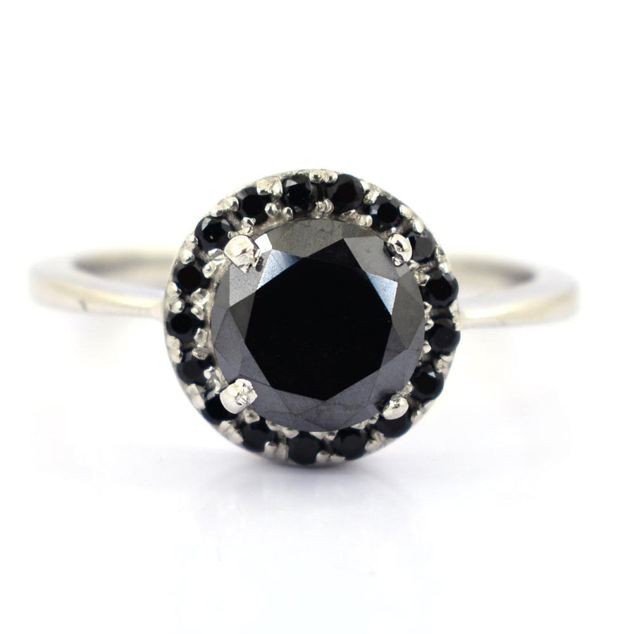 2 Ct Black Diamond Solitaire Ring With Accents in 925 Silver - ZeeDiamonds