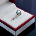 1-2 CT ROUND CUT BLUE DIAMOND SOLITAIRE RING IN STERLING SILVER - ZeeDiamonds